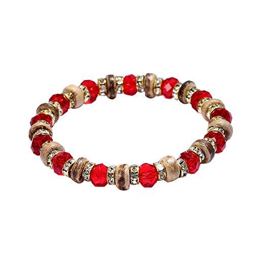 Shell Coconut Bracelet Stretch (Dzsntsmgs Ethnic Women Round Coconut Shell Rhinestone Beads Bracelet Elastic Wrist Jewelry - Red)