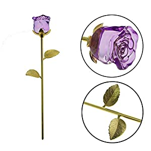 YUYIKES 9 Inches Romantic Love Forever in Bud Purple Crystal Rose Flower, Best Gift for Valentine's Day, Mother's Day, Anniversary, Birthday Gift , Home Wedding Decoration (Purple) 2