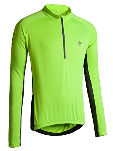 Bike Fitted T-shirt (KORAMAN Mens Long Sleeve Cycling Jersey with Thumb Hole Quick Dry Bike Biking Shirts Green S)