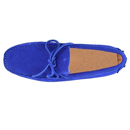 Santimon Herren Schuhe Hausschuhe Slipper Mokassins Casual Business Leder Bummler Fahren Schnüren Halbschuhe Blau
