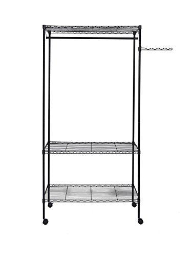 Finnhomy Sturdy Shelving Garment Rack Rolling Clothes Rack for Closet Organizer Movable (Adjustable Side Shelf)