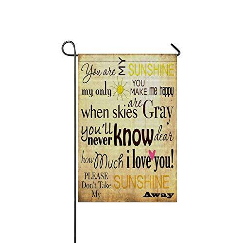 InterestPrint Polyester Garden Flag You are My Sunshine Words Decorative Wedding Anniversary Home Outdoor Decor ()