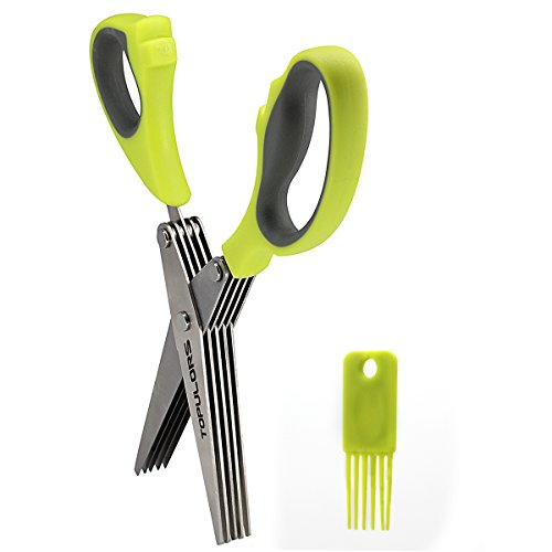 (Multipurpose Kitchen Shear Herb Scissors 5-Layers Stainless Steel Blades with Comfortable Grip ABS Plastic Handles and Cleaning Brush&Comb for Kitchen or Other Cutting)