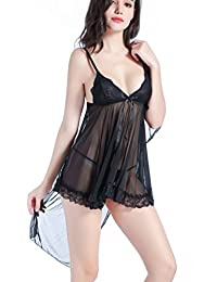 Vilania Women Sexy Babydoll Lingerie Lace With Shawl Sleepwear 3 Pieces