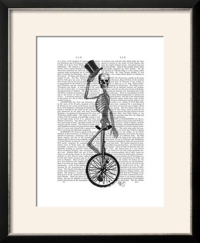 ArtEdge Skeleton on Unicycle by Fab Funky, Size 19W x 23H, F