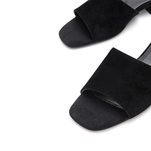Sort Flad Farve Sko Dhg Casual Lave Søde Kvinder Solid Hæle 34 Høje Mode Hæle Spids Sandaler Sommer nqqxS0wHZ