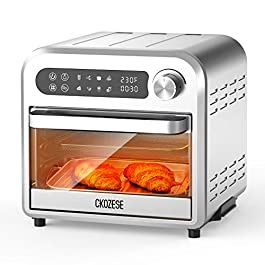8-In-1 Small Stainless Steel Digital Toaster Oven Air Fryer, Dehydrator/Bake/Broil/Roast Function, 1250W&60 Min Timer…