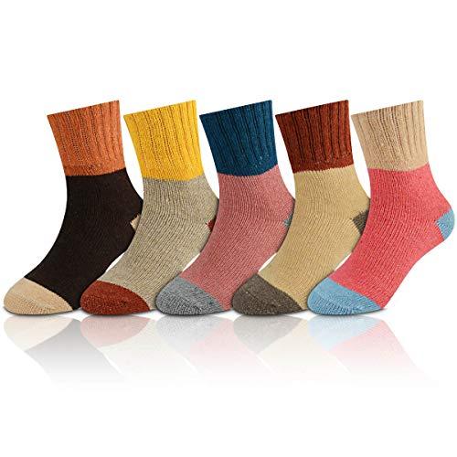 OKISS Women Winter Socks Warm Vintage Socks for Women Soft Wool Comfort Cozy Crew Socks 5 Pack (sold)