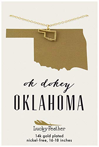 Lucky Feather Oklahoma Shaped State Necklace, 14K Gold-Dipped Pendant on Adjustable 16