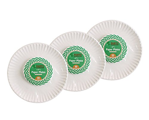 "Party Bargains Value Pack Everyday Disposable 9"" White Paper Plates (300 - Paper Uncoated Plates"
