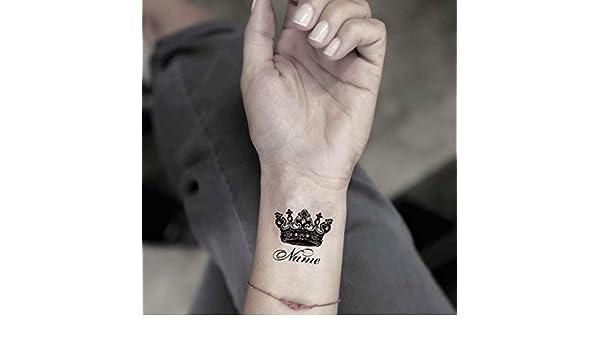 Tatuaje Temporal de Nombre personalizado con corona (2 Piezas ...