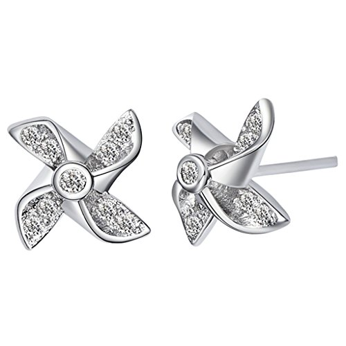 Jacob Windmill (KnSam Women Platinum Plate Pierced Stud Earrings Windmill Crystal Rhinestone [Novelty Earrings])