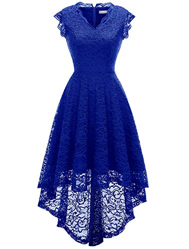 Misses Cocktail Dresses - MODECRUSH Womens Ruffle Sleeve Formal Hi Low Floral Lace Cocktail Party Dresses S RoyalBlue