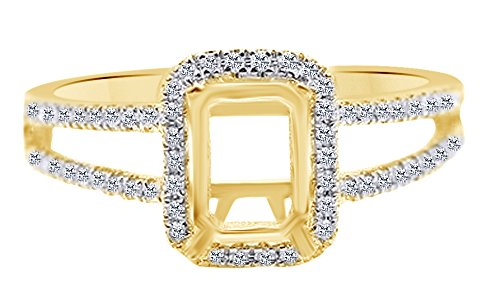 - White Natural Diamond 7x5mm Emerald Radiant Cut Semi Mount Ring 14K Solid Yellow Gold (0.3 Cttw) Ring Size-14