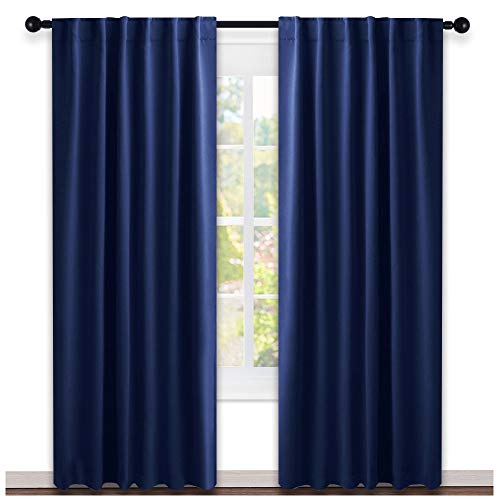 NICETOWN Window Treatment Blackout Curtains and Draperies - (Royal Navy Blue Color) 52' W by 95' L Each Panel, Set of 2 Panels, Blackout Drape Panels for Nursery