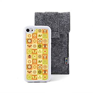 CaseCityLiu - Animals Under the Sun Cartoon Sweet Pattern Design White Bumper Plastic+TPU Case Cover for Apple iPhone 5C Come With FREE Non Woven Packing Bag