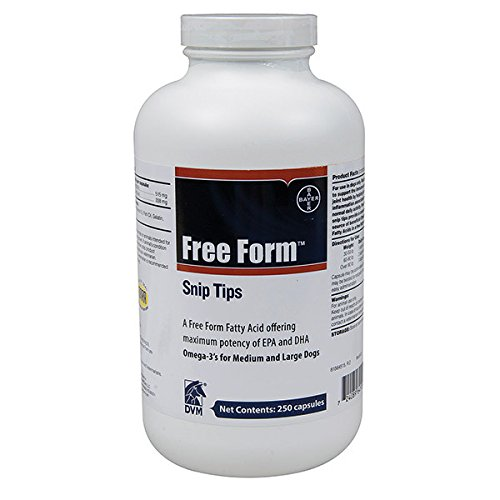 Free Form Snip Tips Omega-3 for Medium Large Dogs 250 capsules
