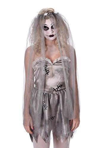 Ghost Bride Costume - Women's Corpse Bride Dress for Halloween and Dress up, Size S