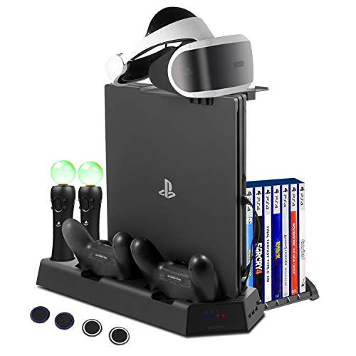 FlexDin PlayStation PS4 VR Charging Station, PS4 Slim / PS4 Pro / PS4 Multifunctional Vertical Cooling Stand with Games Storage, Quad Charger Dock for PS3 / PS4 Move Motion Controller (Ps3 Game Stand)