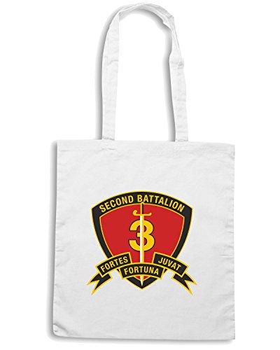 T-Shirtshock - Bolsa para la compra TM0318 2nd Battalion 3rd Marine Regiment USMC usa Blanco