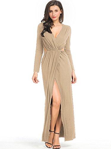 (Clothink Women Deep V Neck Wrap Front Ruched Slit Split Party Maxi Dress Beige 8)