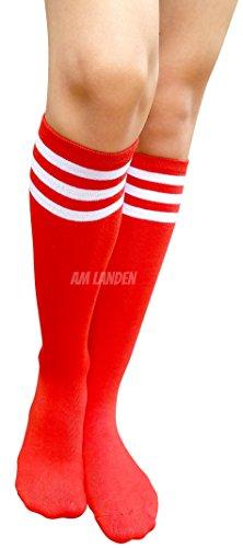 e08211cdf AM Landen Women s Casual Red Three White Stripes Knee High Socks Girls socks