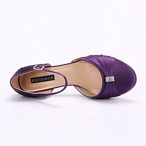 Low Satin Purple Heel Ankle Wedding Shoes Bridal Strap Women Dyeable Kitten Buckle ERIJUNOR Comfort TUWEwnq6