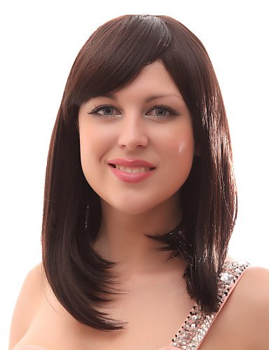 Wigs have an attractive convenience fashion Capless 20% Human Hair Medium Straight Brown Hair Wigs (Costume Store In Atlanta)