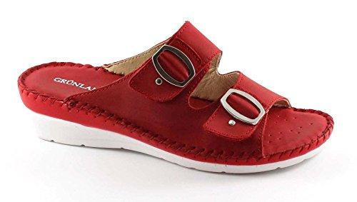 Grünland CERA rojo zapatillas de cuero de la señora CI2108 zeppetta lágrima Rosso