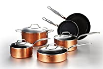 COOKSMARK 10-Piece Cookware Pots and Pans Set Nonstick Induction Aluminium Dishwasher Safe Hammering Copper