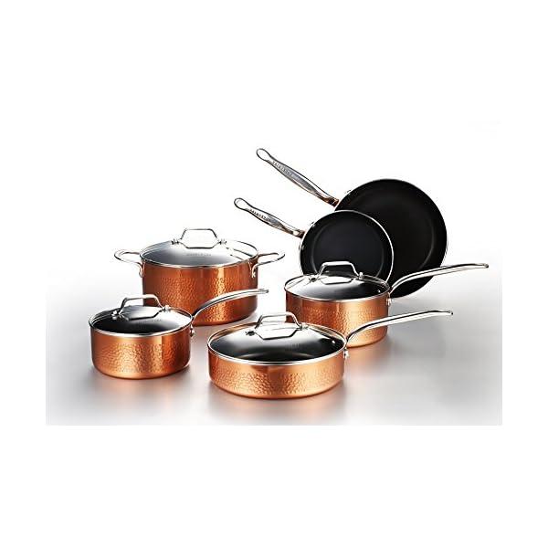 COOKSMARK 10 Piece Hammered Copper Cookware Set with Nonstick Coating, Induction Pots and Pans Set Dishwasher Safe 1