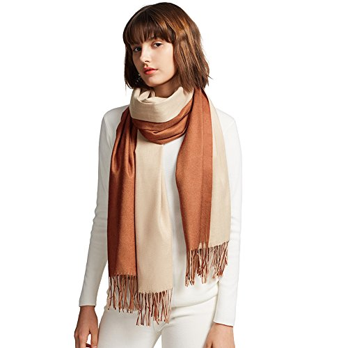 MaaMgic Womens Soft Cashmere Feel Pashmina Shawls Wraps Big Blanket Fall Winter Scarf for Girls, Rusty Brown and Cream