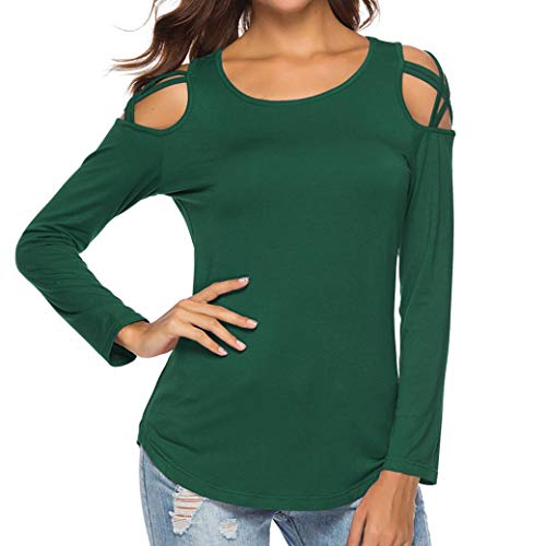 Printemps Femmes Longue Fashion T Shirt t L'paule Cou Fille lgant Top Femme Chic Casual Vert O Manche Vtements Shirt Tee Tops Sexy Chemise Automne Guesspower Slim causale Chemise Chemisier Off wYFxEqYd