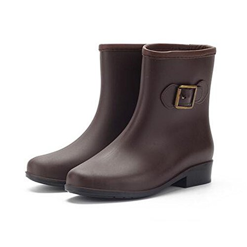 Meijunter Women Mid-Calf Rubber Rain Boots Ladies Anti-slip Rain Shoes Martin Rainboots Brown