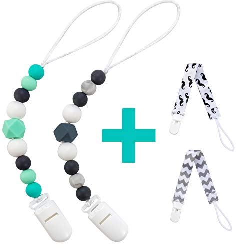 Silicone Pacifier Clip for Baby Boys & Girls, 4 Pack Paci Clips Teething Beads BPA Free Binky Holder for Teether Toys Birthday Christmas Baby Shower Gift (Green, Grey)