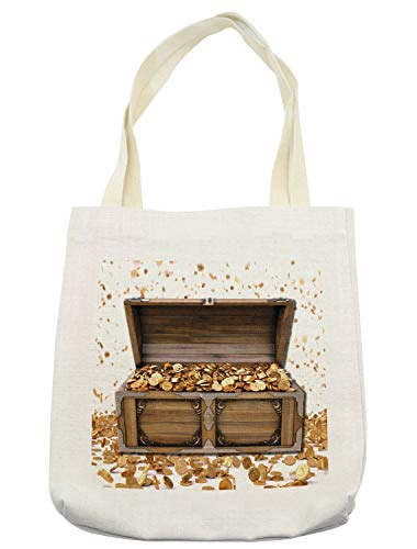 Ambesonne Chest Tote Bag, Wealth Themed Gold Coins Kings Ransom Wooden Box Pirate Treasure Picture, Cloth Linen Reusable Bag for Shopping Books Beach and More, 16.5