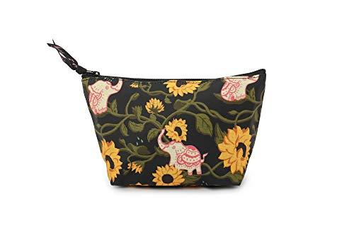 Fanloli Waterproof Dumpling Portable Cosmetic Pouch Makeup Bag Elephant in Sunflower