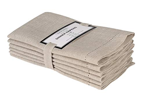 Cotton Clinic Pure Linen Cloth Dinner Napkins 18x18 Set of 6, 100% Linen Fabric Soft and Comfortable Cocktail Napkins, Wedding Dinner Napkins with Mitered Corners and Generous Hem - Beige Natural