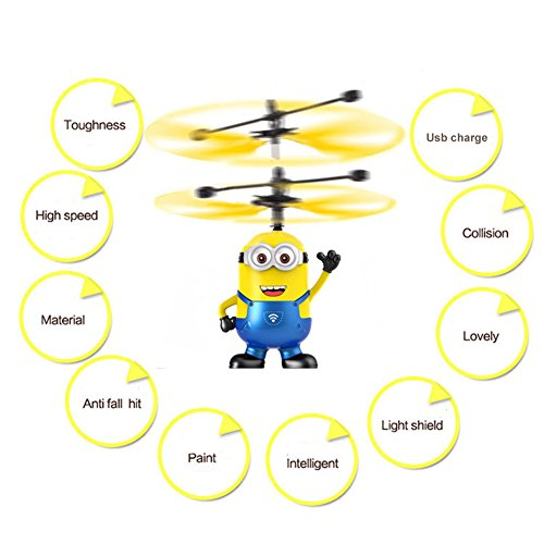 Gouptec Me Minions Flying RC Helicopter Toy Led Eye Gifts For Children kids