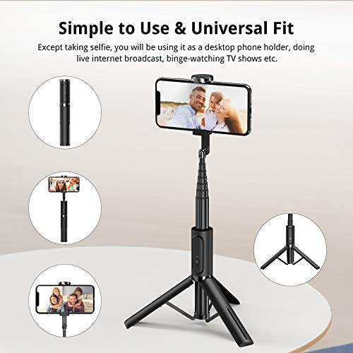 ATUMTEK Bluetooth Selfie Stick Tripod, Mini Extendable 3 in 1 Aluminum Selfie Stick with Wireless Remote and Tripod… 6