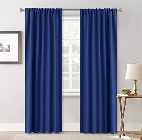 RYB HOME Décor Blackout Window Curtains, Energy Efficient Block Harsh Lights for Bedroom Dining Room Gift Idea, Wide 42 x Long 84 inch, Marine Blue, 2 Panels from RYB HOME