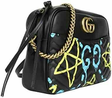 43e09b876943cd Gucci Women's Ghost Black Leather Apollo Marmont Chain Shoulder Bag 443499  8438