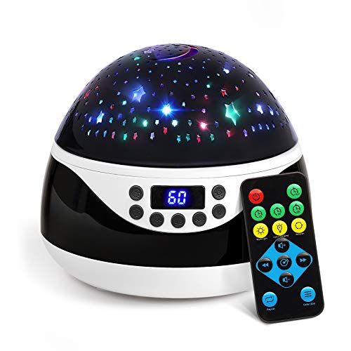 AnanBros Remote Baby Night Light with Timer Music, Star Night Light Projector for Kids, Rotating Kids Night Lights for Bedroom 9 Color Options, Projection Lamp for Baby Christmas Gifts Black (Star Projector And Sound Machine)