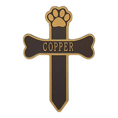 Whitehall Dog Paw and Bone Personalized Pet Memorial Cross Yard Sign - Custom Cast Aluminum Remembrance Lawn and Garden Stake, Grave Marker - Bronze/Gold from Unknown