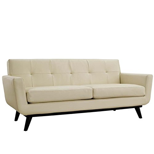 Modway Engage Mid-Century Modern Upholstered Leather Loveseat In Beige (Modern Contemporary Loveseat)
