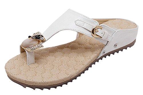 Agowoo Damesslip Met Platte Studs En Walking Sandles Strand Sandalen Wit