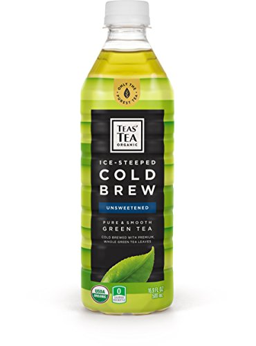 Teas' Tea Organic Cold Brew Unsweetened Green Tea, (Pack of 12), Organic, Zero Calories, No Sugars, No Artificial Sweeteners, Antioxidant Rich, High in Vitamin C