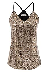 Snake Design Sequin Sleeveless Camisole Tank Top