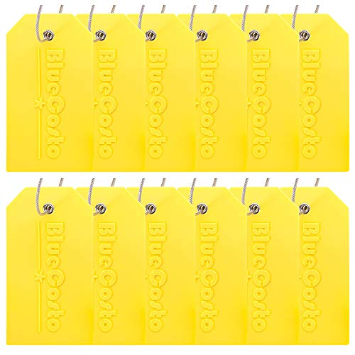 BlueCosto 12 Pack Luggage Tags Suitcase Tag Travel Bag Labels w/Privacy Cover - Yellow