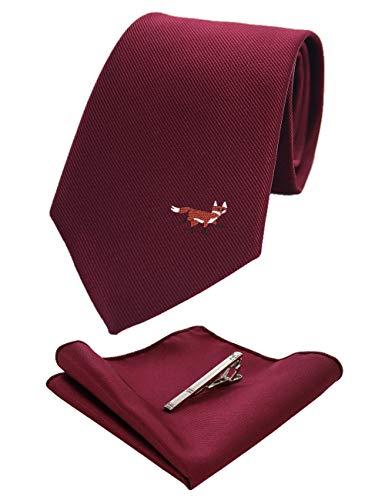- JEMYGINS Fox Burgundy Silk Tie and Pocket Square, Necktie with Tie Clip Sets for Men(2)